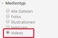 Videos in den linken Suchfiltern in der Suchansicht auf der PantherMedia Webseite