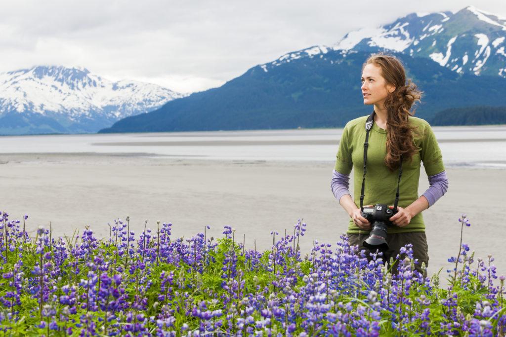 Lupine, Woman, Alaska Stock, USA, camera, mountains, snow, water
