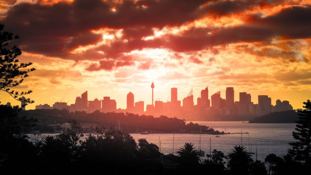 skyline, Sydney, AMP-Tower, dramatic sky, sunset
