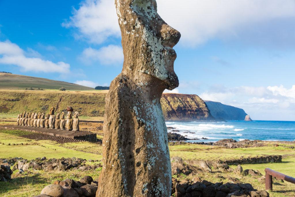 Rapa Nui, Osterinsel, Moai, Klippen, Gras, Statuen, Kultur, Brandung, Isla de Pascua