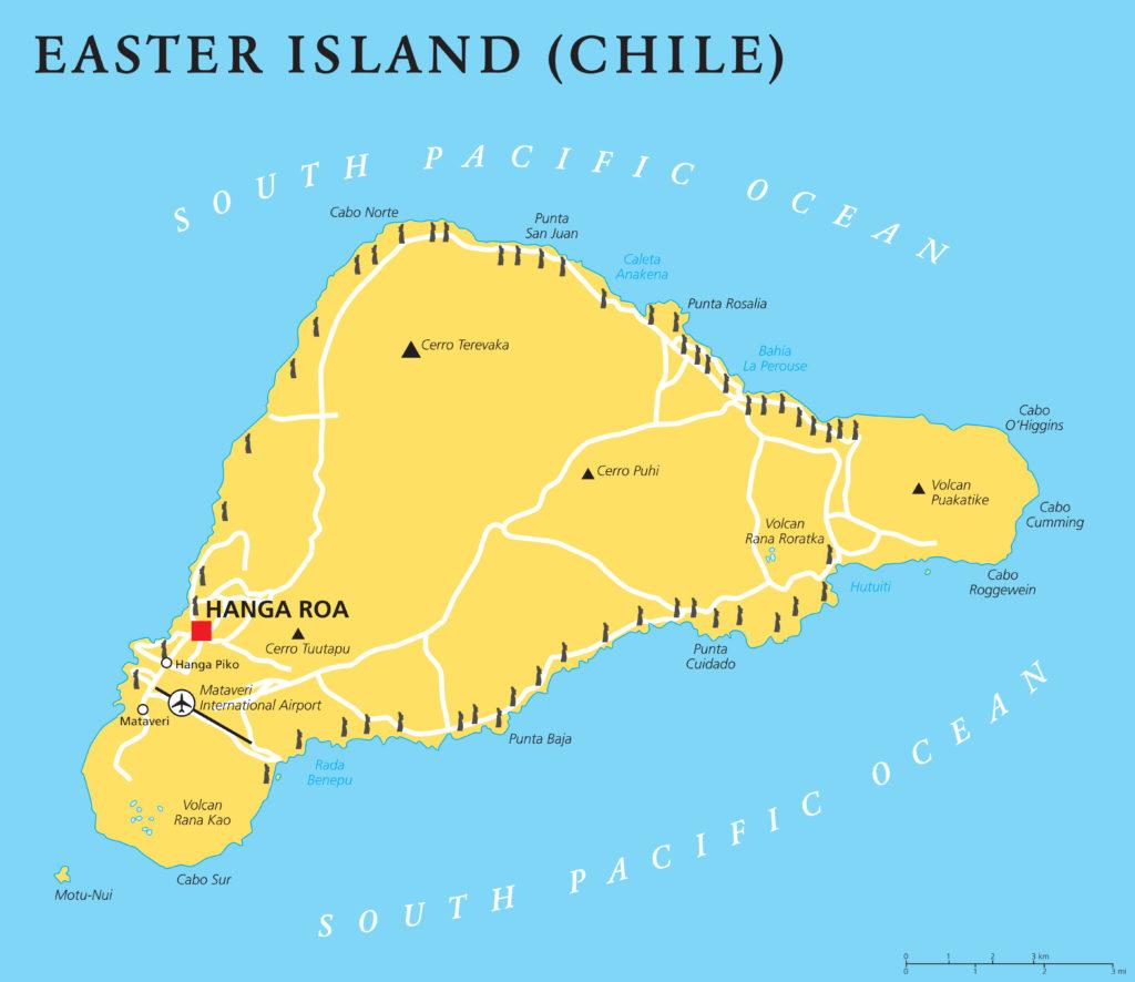 Rapa Nui, Osterinsel, Moai, Landkarte, Isla de Pascua