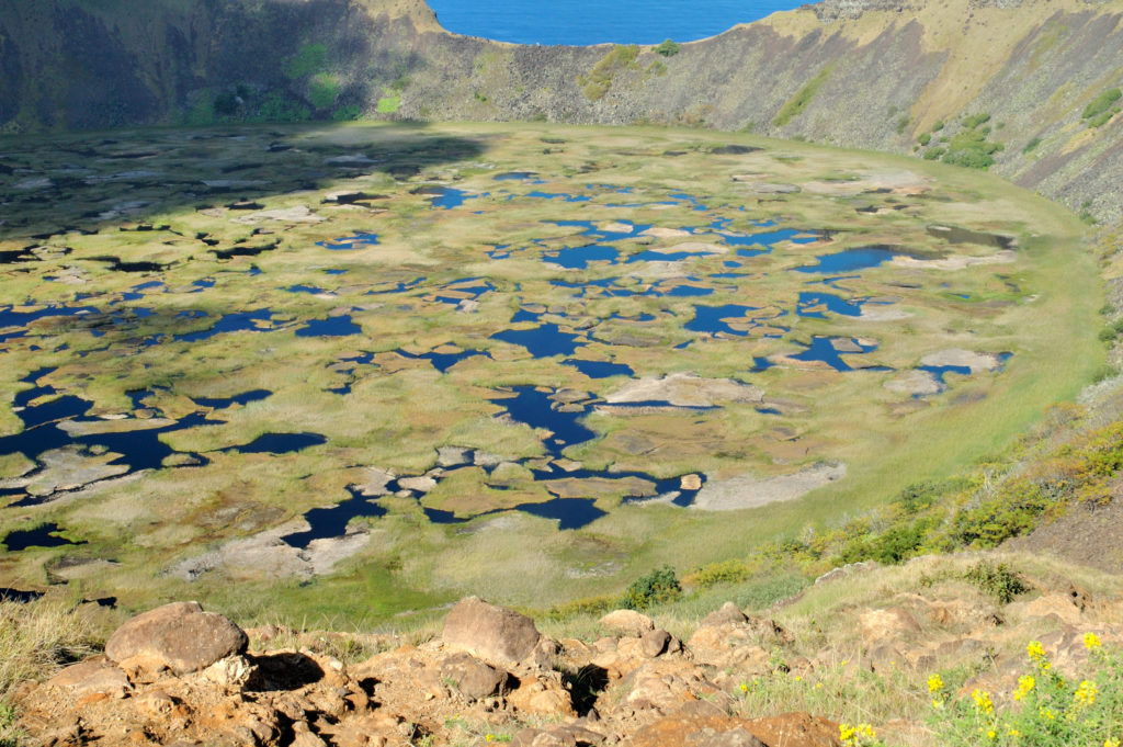 Rapa Nui, Osterinsel, Vulkan, Krater, Caldera, Gras, See, Rano Kau, Isla de Pascua