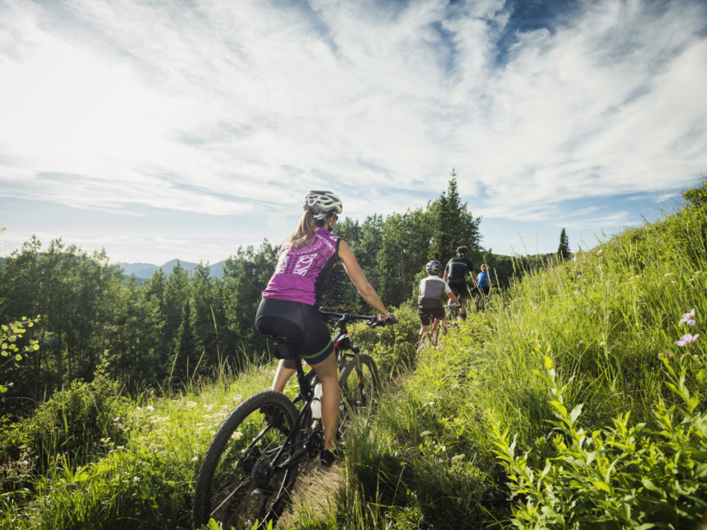 mountian biking, family, trees, cycling, clearing, forest, mountains, hills, Tetra Images