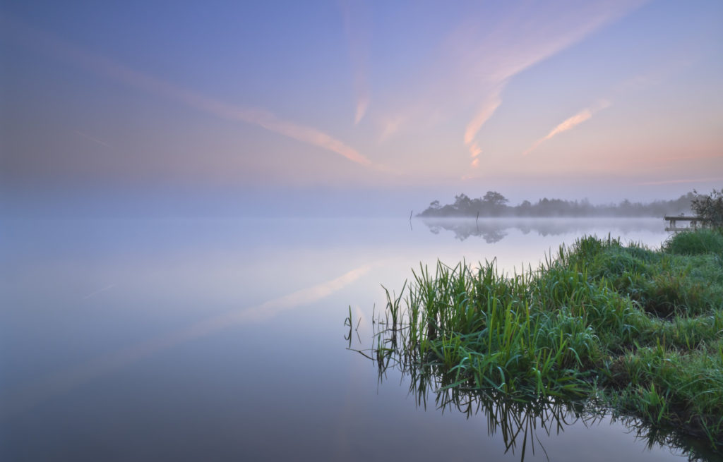 Flogeln Lake, dawn, Flogeln, Lower Saxony, Germany, Imagebroker