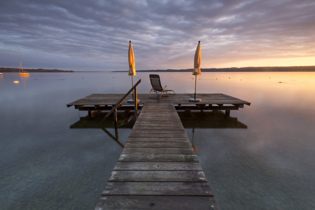 Jetty, Sunrise, Bavaria, Germany, Imagebroker