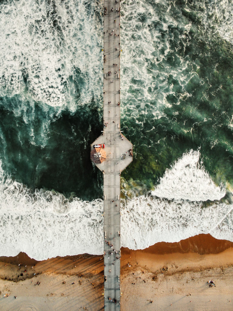 Bridge, Sea, People, Drone, Aerial View, Waves, Cavan Images