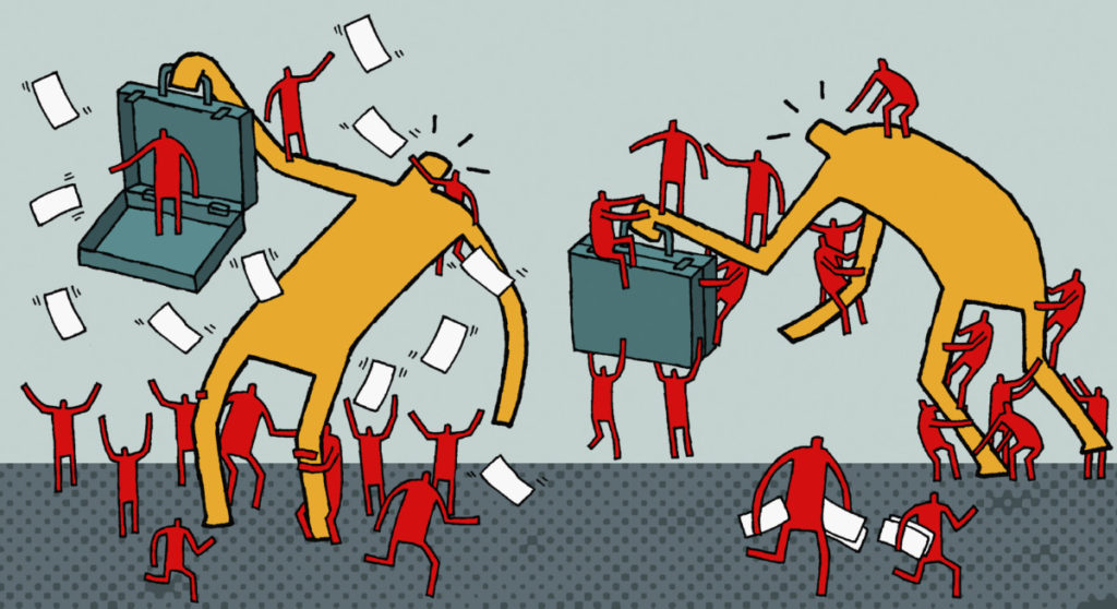 Illustration, confusion, panic, business, mess