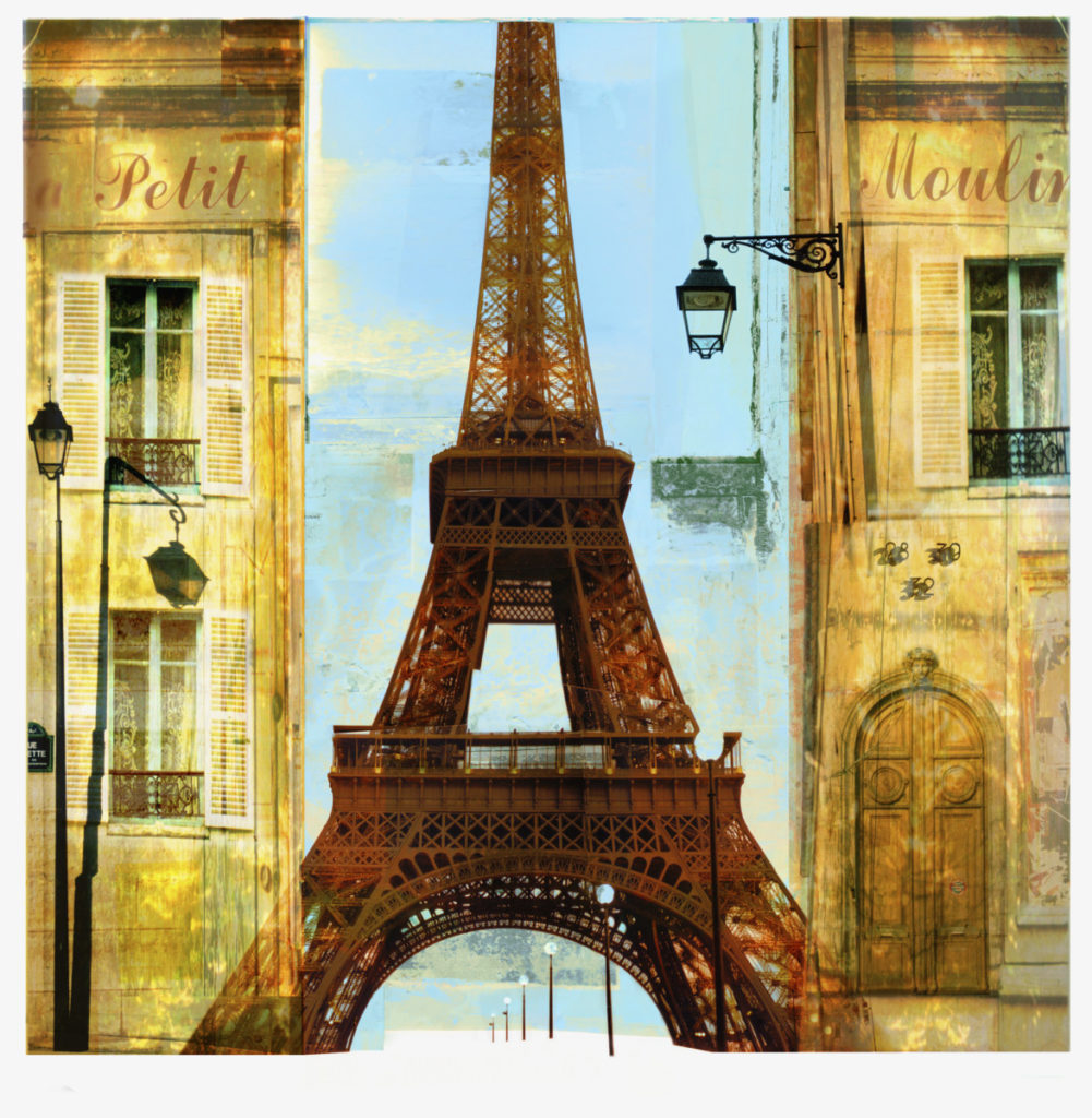 Illustration, Paris, Eiffel Tower, buildings, passage, alley