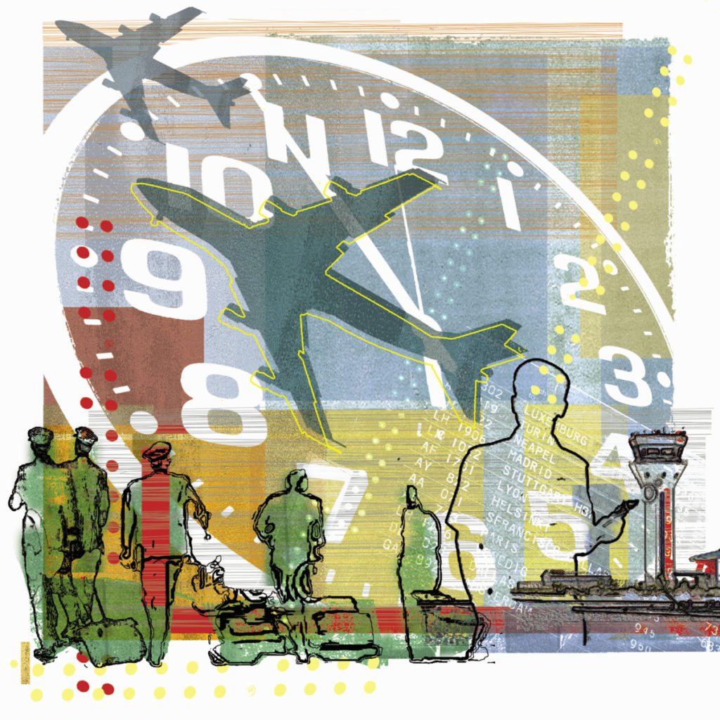 Illustration, airplanes, pilotes, tower, time, clock