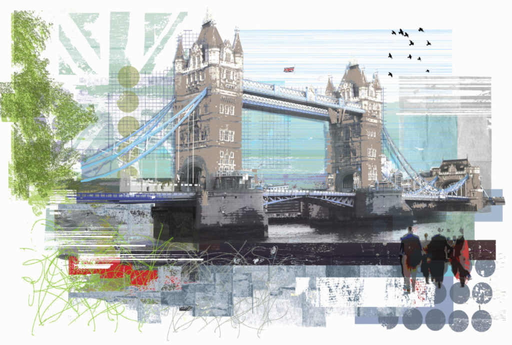 Illustration, London, Tower Bridge