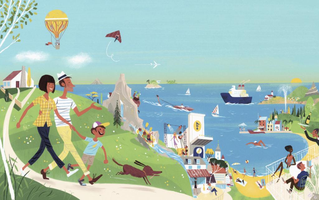 Illustration, Urlaub, Meer, Strand, Seebad