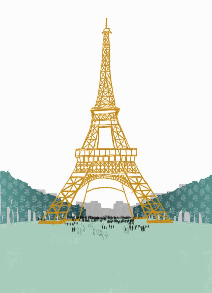 Illustration, Paris, Eiffel Tower, people, daytime, Champs de Mars