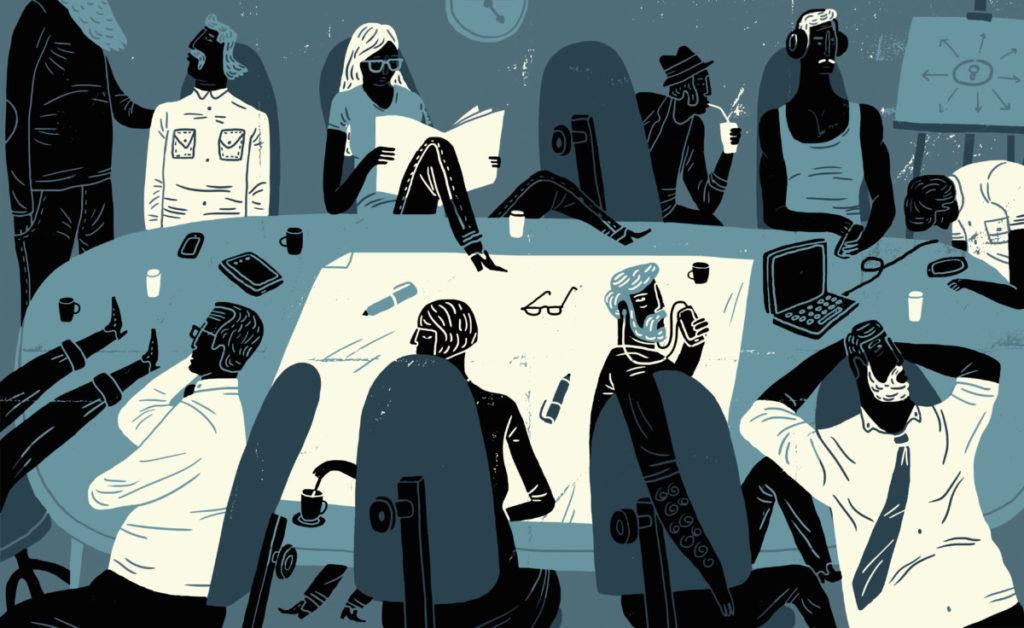 Illustration, Meeting, gelangweilt, verzweifelt, Orientierungslos