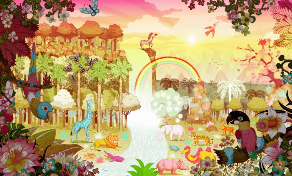 Illustration, Tropen, Dschungel, bunt, üppig, Sonnenaufgang