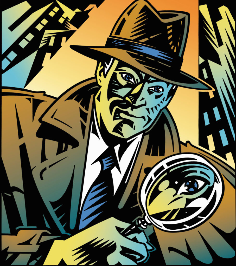Illustration, Detective, retro, magnifying glas, city