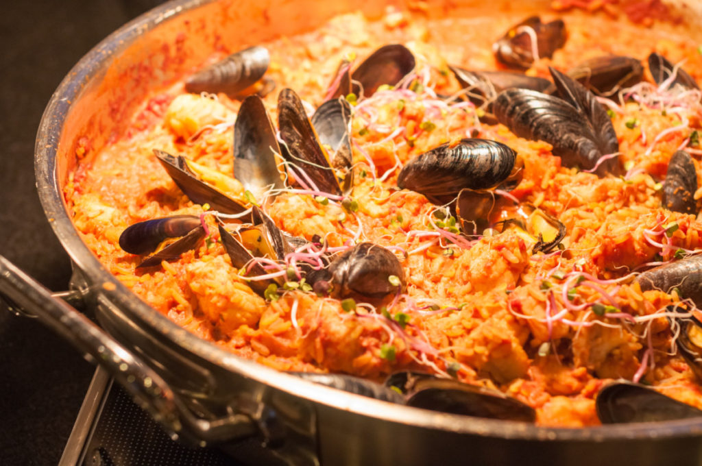 seafood, paella, authentic, original, royalty free