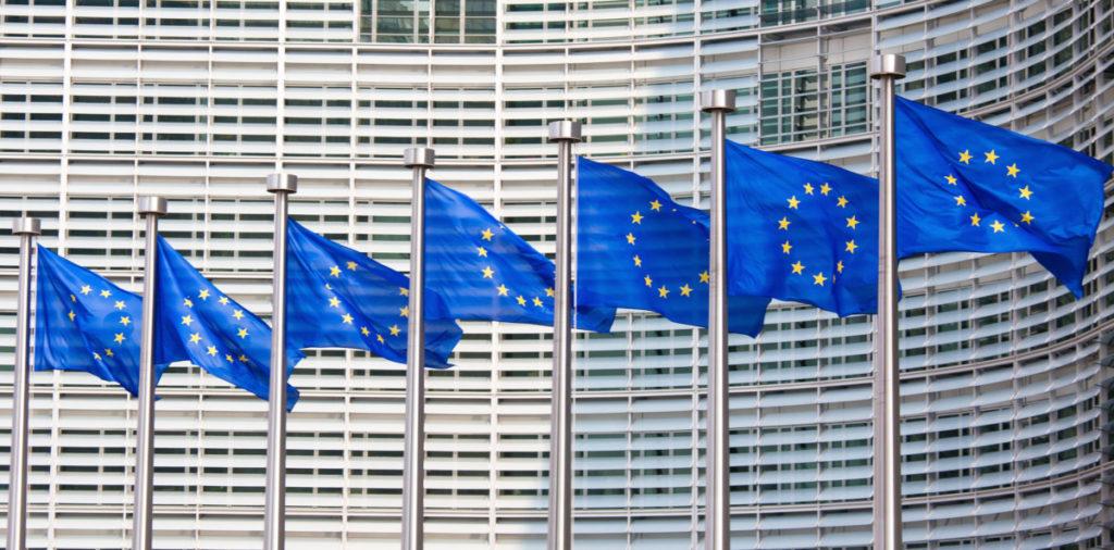 Flaggen, Europa, Brüssel, Fahne, EU, Europäische Union, Belgien, Gebäude
