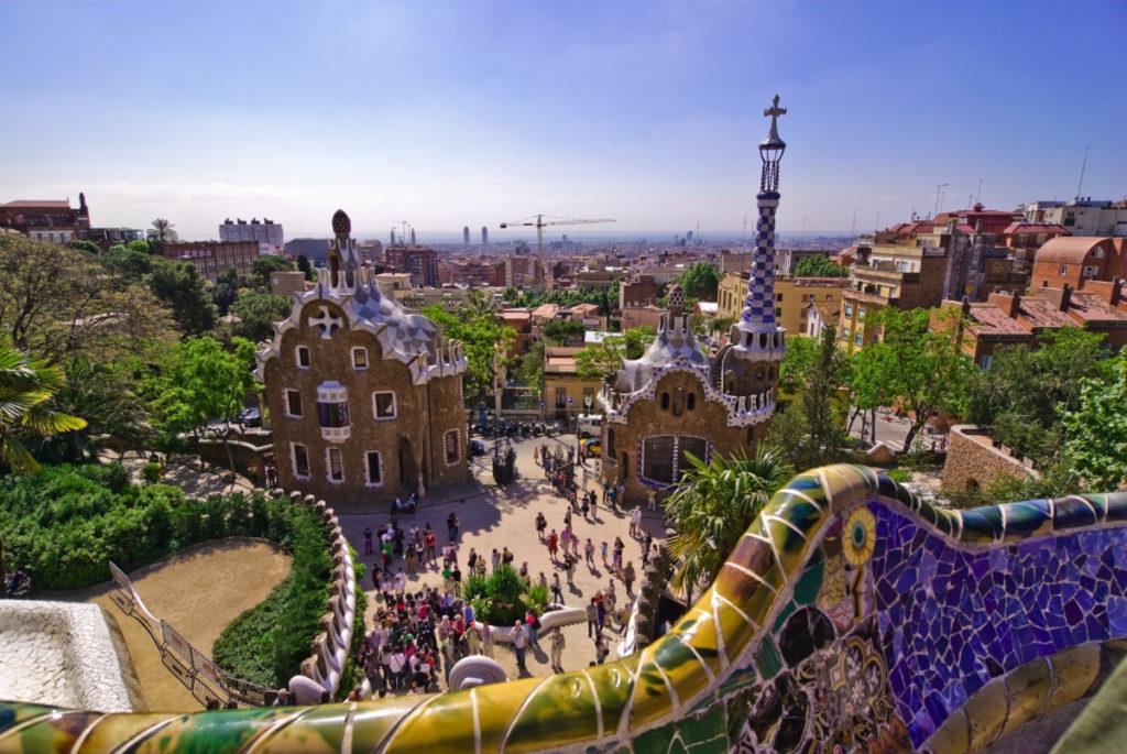 Barcelona, Catalonia, Spain, Parc Guell, Parc Güell, Gaudi, royalty free