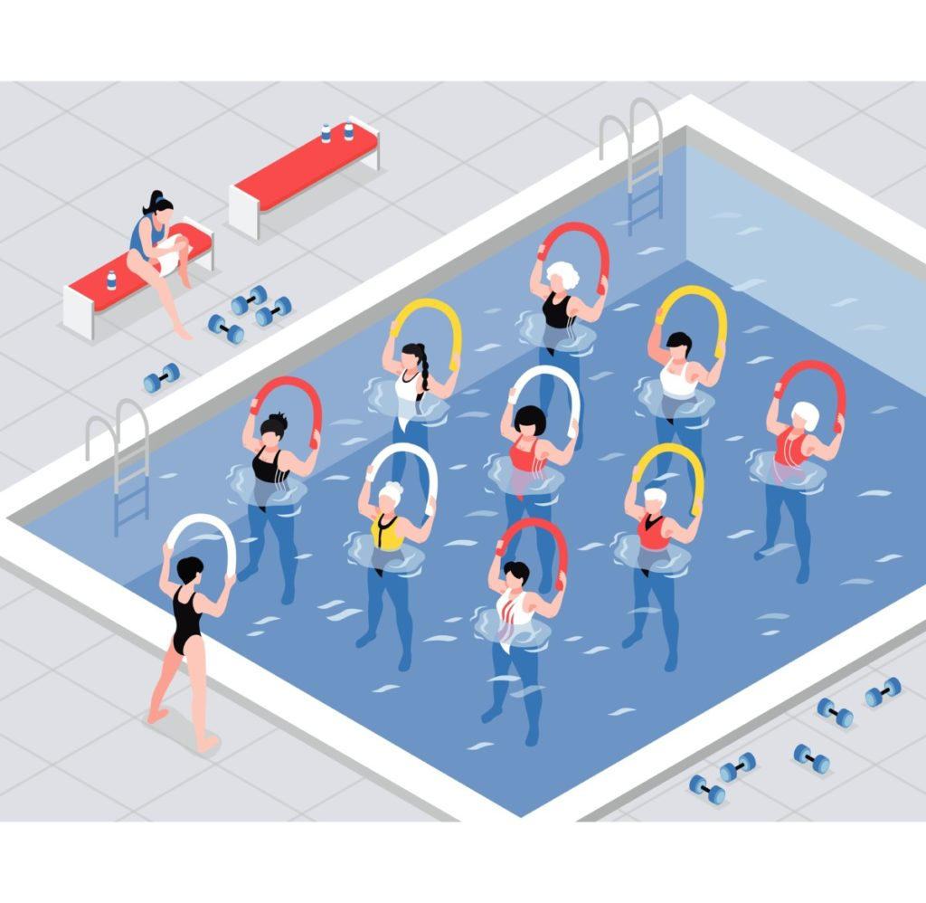 Isometry, swimming pool, training, water gymnastics, vector, vector illustation, Royalty Free