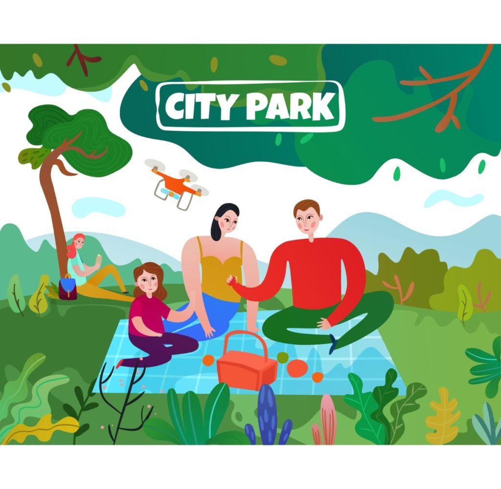 Family, parents, children, drohne, picnic, park, trendy, vector, vector illustation, Royalty Free
