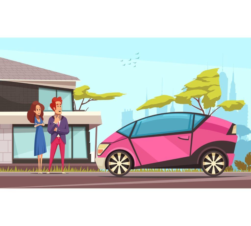 Modern, E-Auto, Verantwortung, Handeln, Ändern, Zukunft, Vektor, Vektorgrafik, Royalty Free