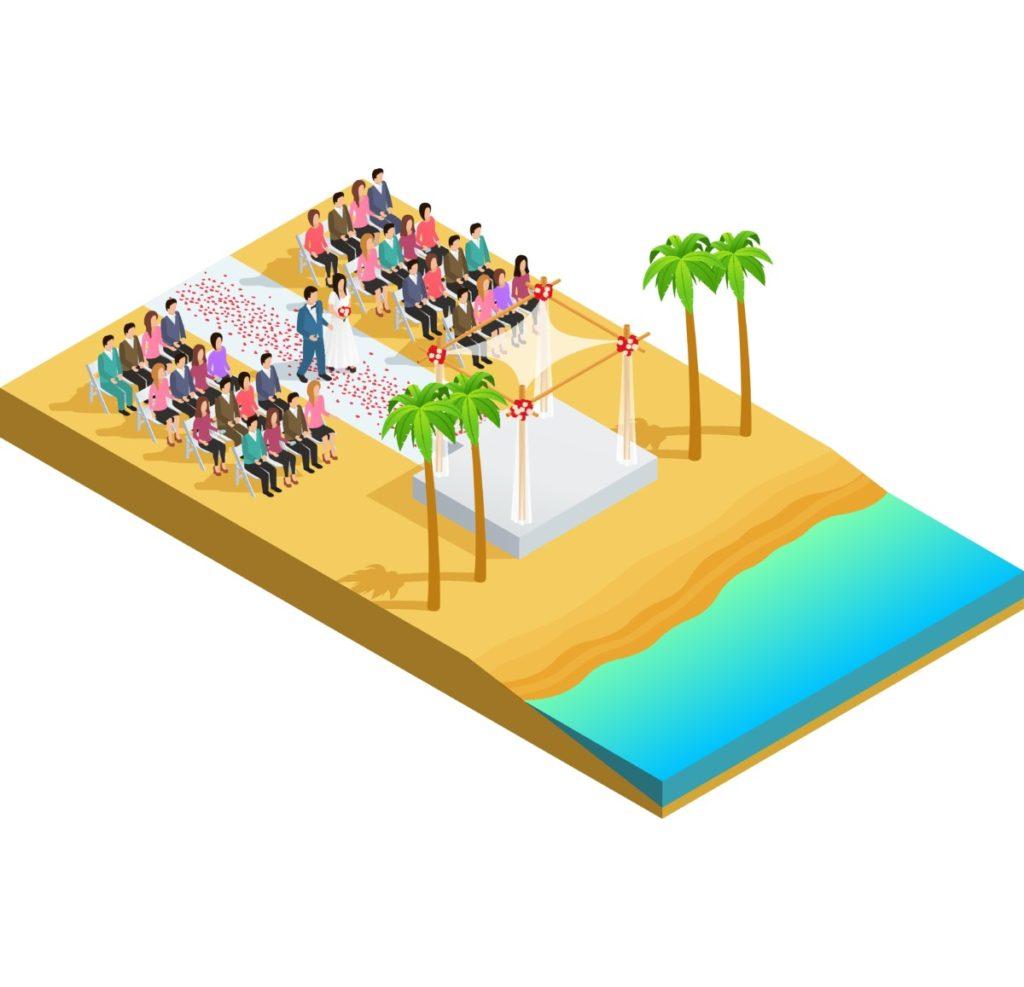 Hochzeit, Sommer, Palmen, Meer, Strand, Vektor, Vektorgrafik, Royalty Free