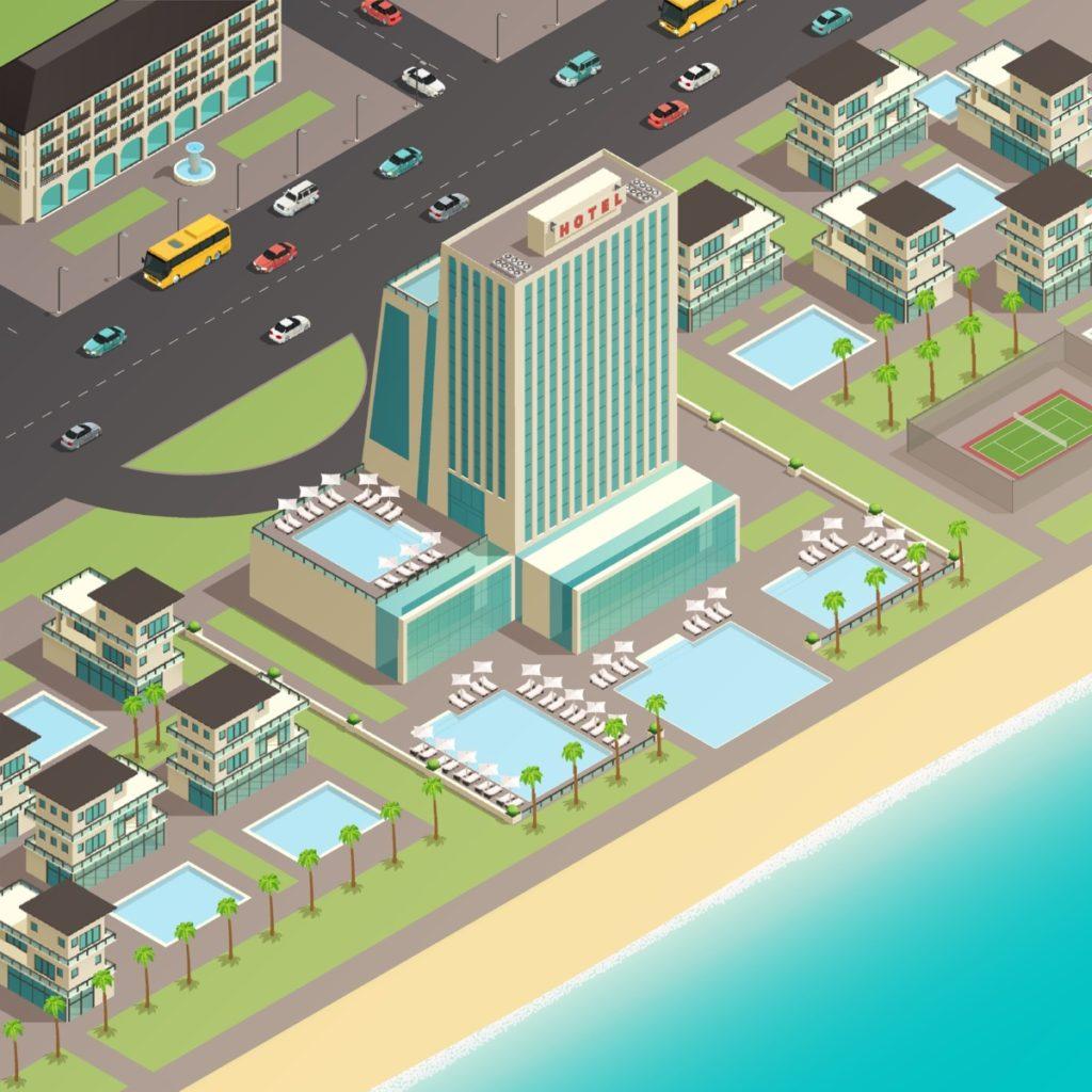 Isometry, road, beach, Hotel, swimming pool, Pool, vector, vector illustation, Royalty Free