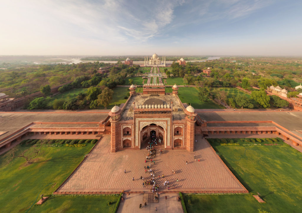 Taj Mahal, India, historical, culture, learning, experience. holiday, vacation, aerial image, drone photography, royalty free