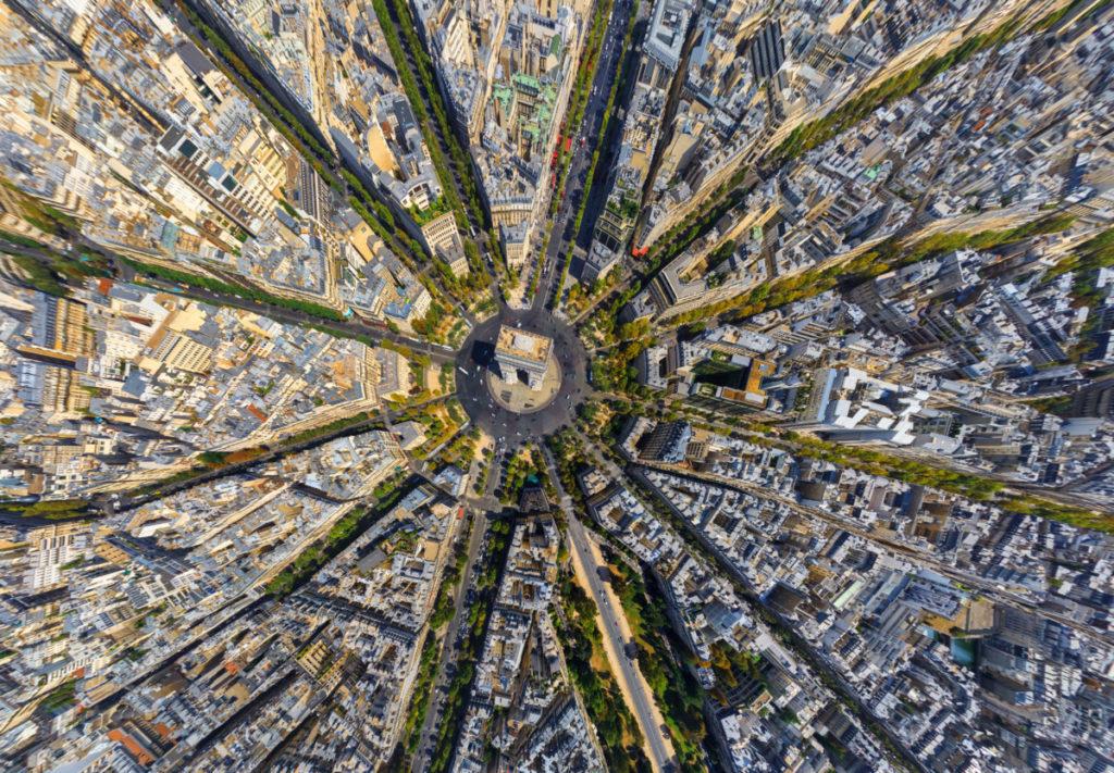 Paris, France, Aerial image, drone photography, Arc de Triomphe, royalty free, star, strucuture