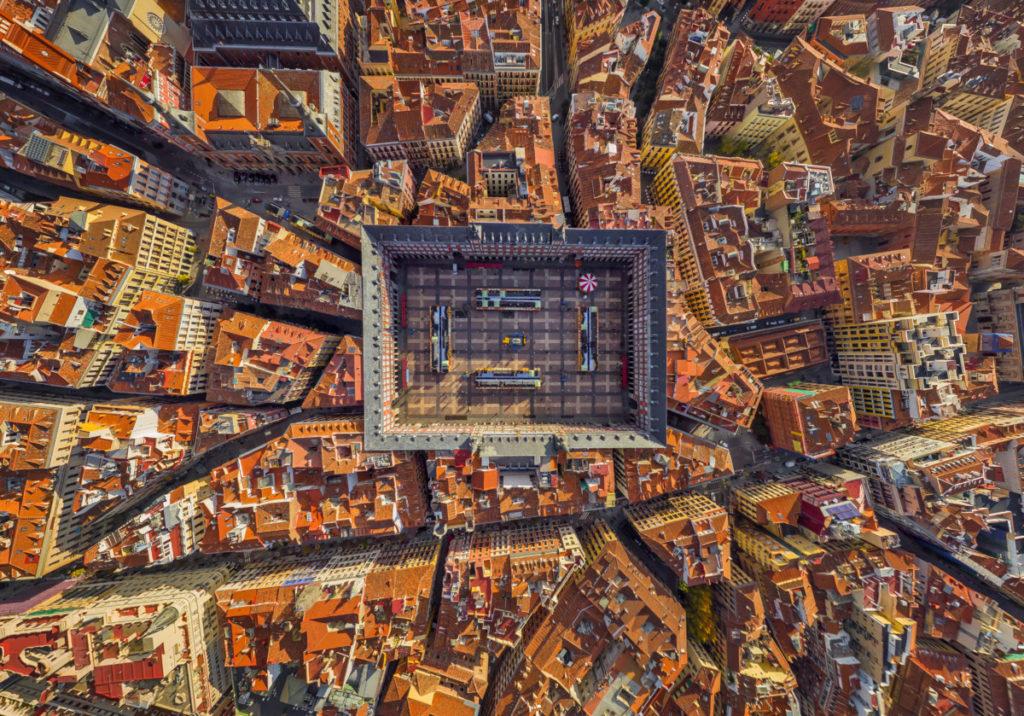Madrid, Spain, Plaza Mayor, Aerial image, bird's eye view, Drone photography, royalty free