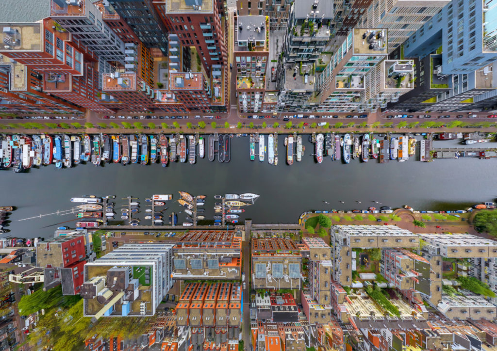Canal, Boats, berth, Amsterdam, The Netherlands, Europe, Bird's Eye View, aerial image, drone photography, royalty free