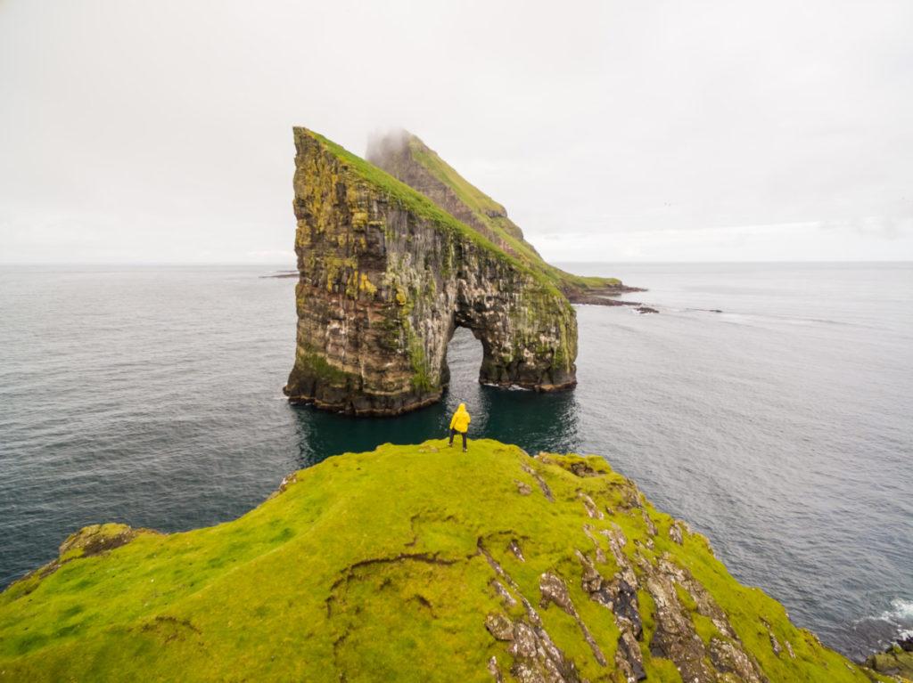 rock foramtion, rocks, rock island, peninsula, Faroe Islands, North Atlantic, Atlantic, isolated, bird's eye view, aerial image, drone photography, royalty free