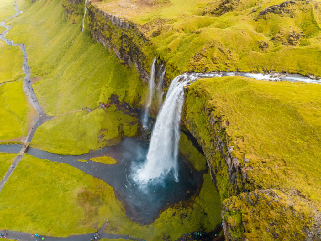 waterfall, green, river, Iceland, Seljalansfoss, bird's eye view, aerial image, drone photography, royalty free