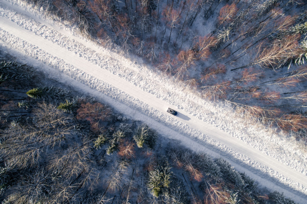 Road, Winter, car, alone, isolated, trees, snow, drone photography, royalty free, aerial image, photos