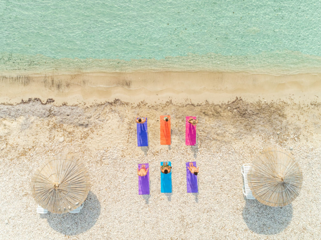 beach, croatia, matts, sunny, colourful, colorful, Yoga, Kurs,woman, man, group, people, sea, relaxing, sun, holiday, vacation, Model Release, bird's eye view, aerial image, drone photography, royalty free