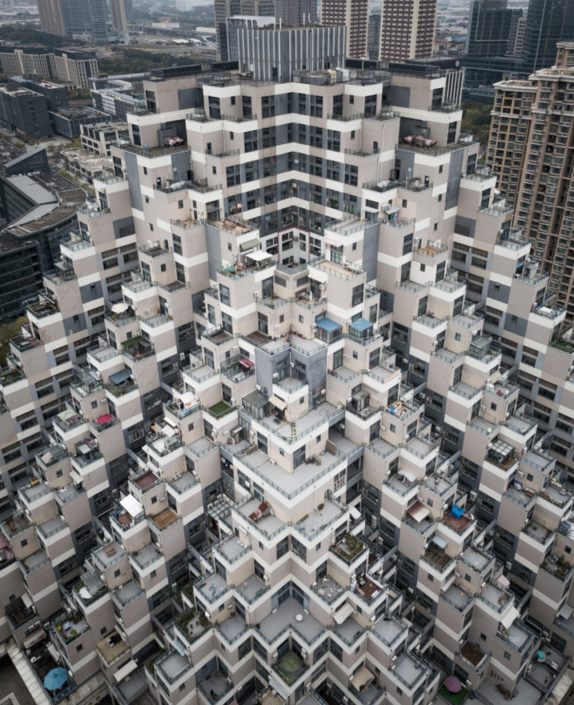 high rise, Shanghai, China, Terraces, modern, aerial image, drone photography, royalty free