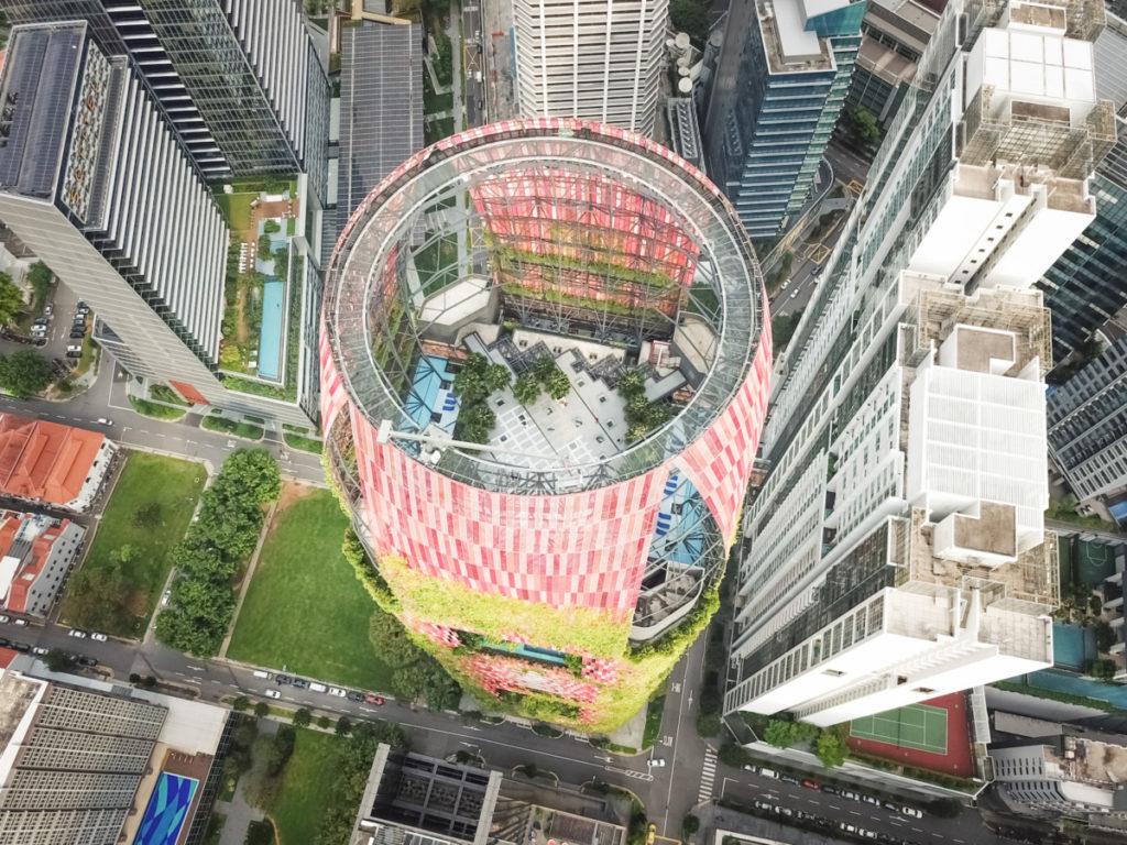 high rise, skyscraper, modern, light, park, modern, bird's eye view, aerial image, drone photography, royalty free