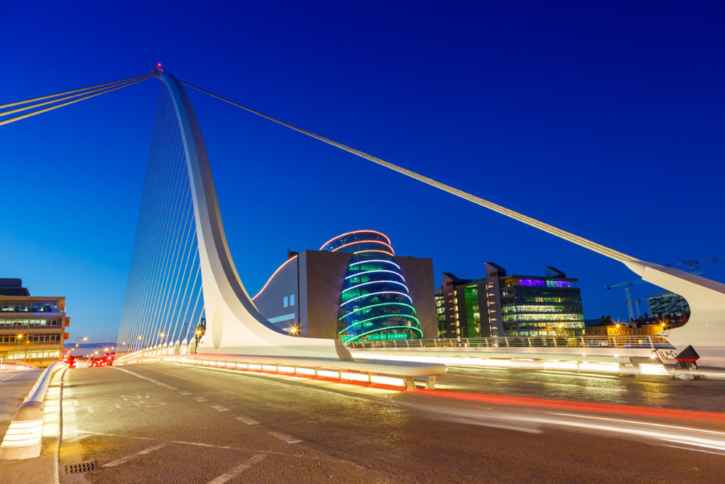 Samuel Beckett Bridge, Dublin, Ireland, European Championship, City of Football 2020, royalty free, photo, stockphoto, stockagency, panthermedia