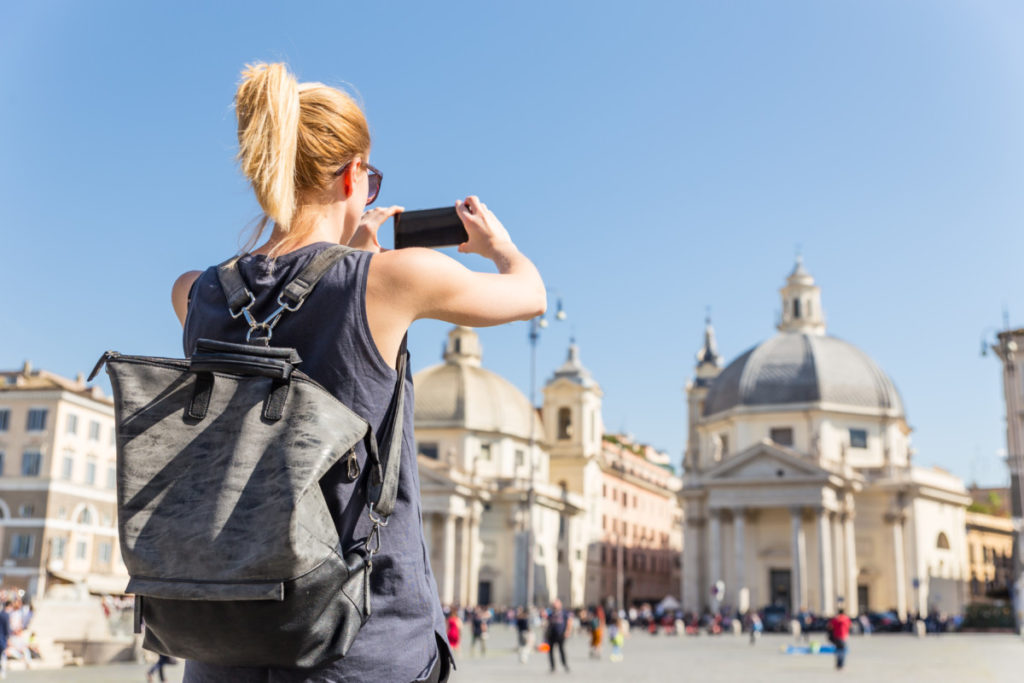 Piazza del Popolo, Rome , Italy, Tourist, mobile phone, smartphone, Blonde, woman, European Championship, City of Football 2020, royalty free, photo, stockphoto, stockagency, panthermedia
