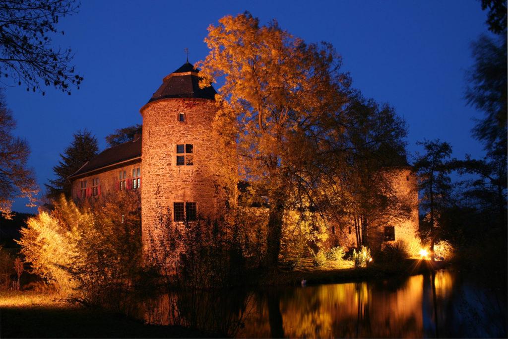 Wasserburg, angermund, nacht