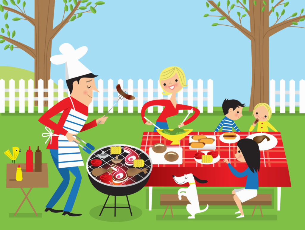 staycation, garden, barbecue, family, parents, children, fun, illustration royalty-free, royalty-free images, panthermedia