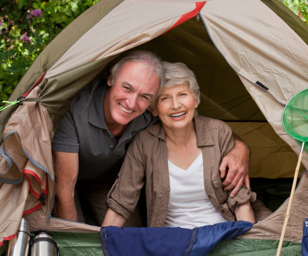 camping, garden, couple, seniors, happy, royalty free