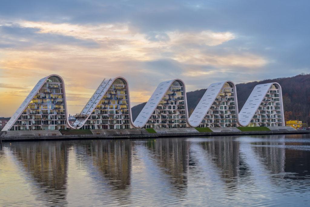 Vejle architektur bucht meer hafen sonnenaufgang fünf wellen