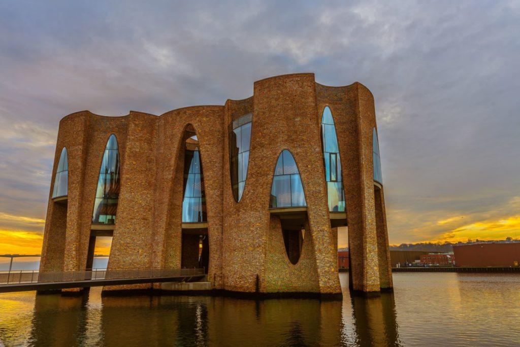 Vejle architektur bucht meer hafen sonnenaufgang