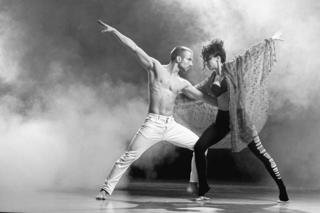 Schwarzweiß, tänzer, man, frau, elegant, präzise, lizenzfreie Fotos