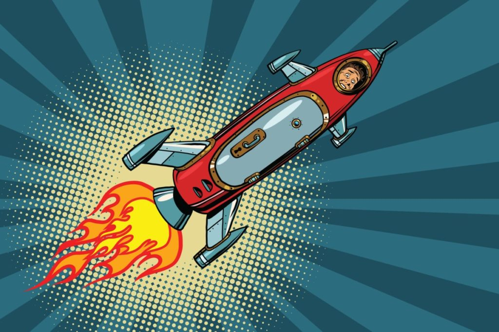 retro futurism space astronaut rocket royalty free illustration