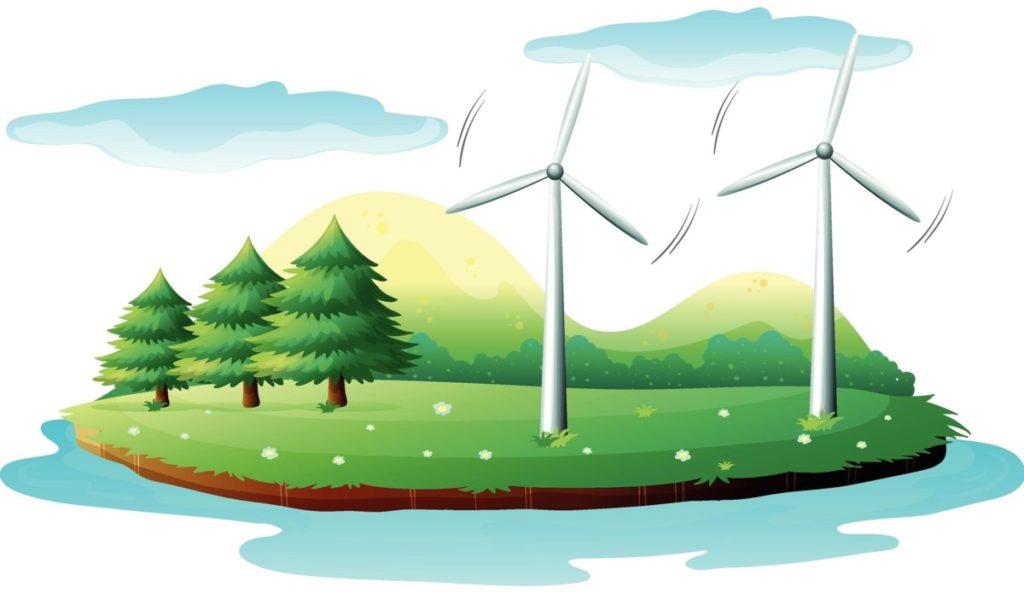 windrad eneuerbare energie wald grün lizenzfreie vektoren