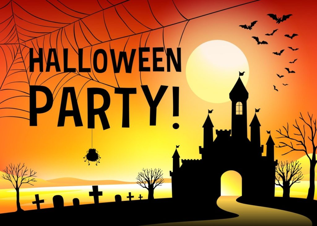 Halloween Gruselig Fledermäuse Spinnennetz Burg
