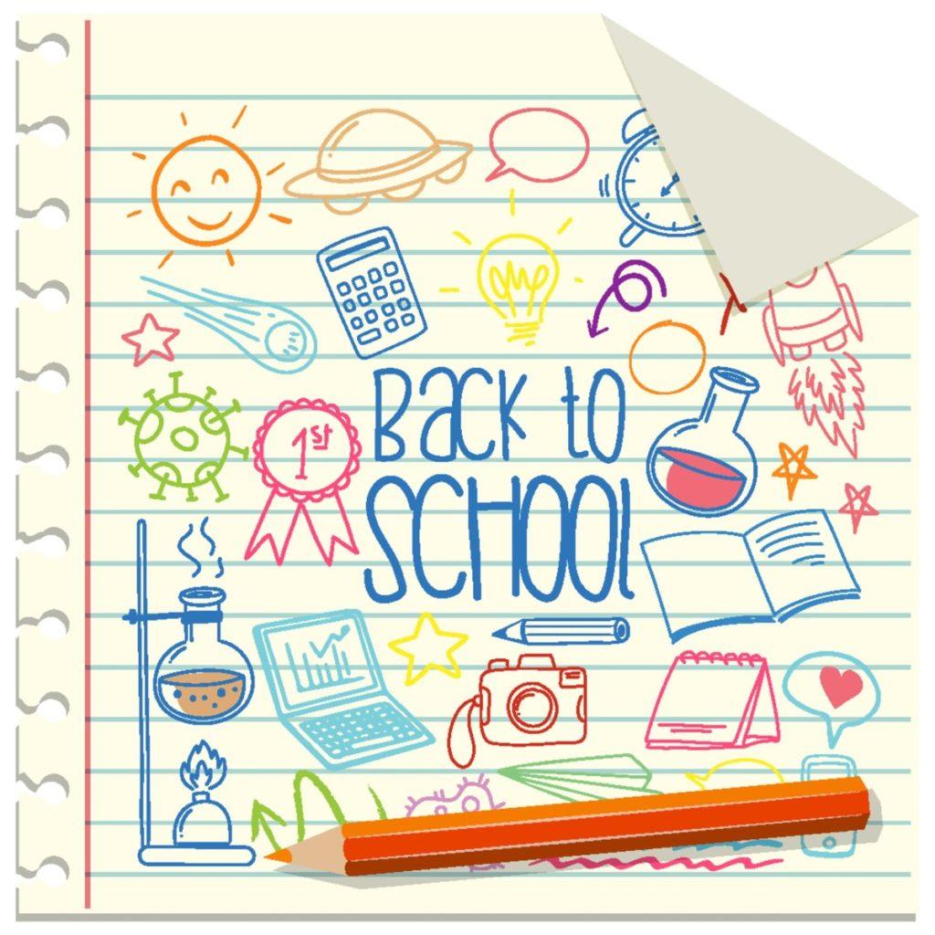 stift notizen schule zurück zur schule skizzen