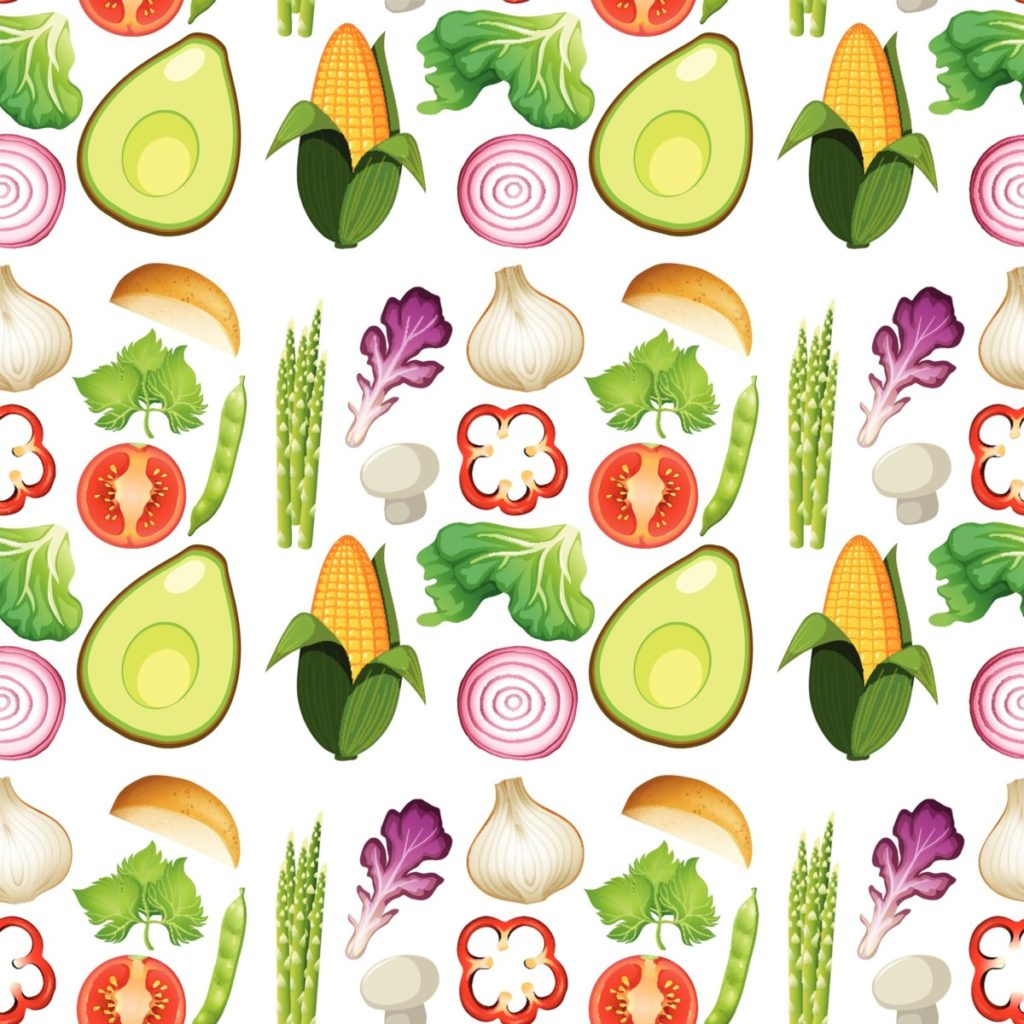 Gemüse gesund avokado spargel zwiebel knoblauch papriak salat erbsen kartoffel lizenzfreie vektoren